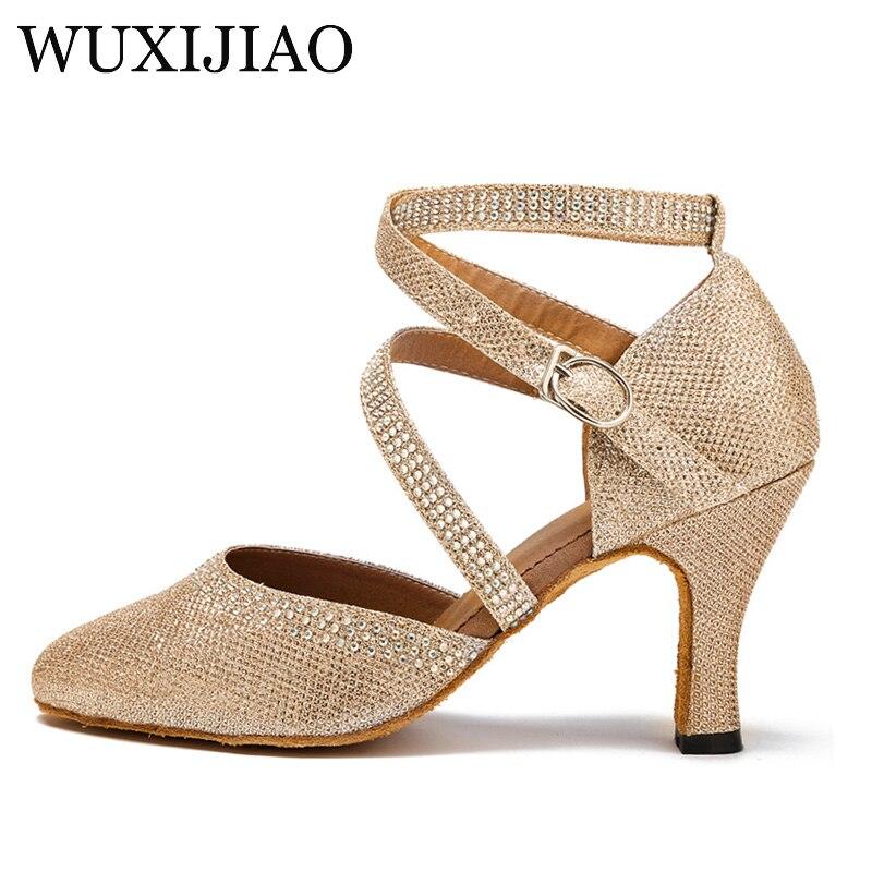 WUXIJIAO Women Latin Dance Shoes Salsa Shoes Social Party Shoes For Female Tango Samba Ballroom Dance Shoes Heel 7.5cm