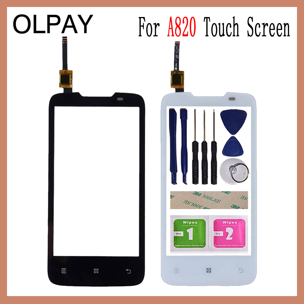 OLPAY 4.5'' Touch Panel For Lenovo A820 A 820 Touch Screen Glass Digitizer Panel Lens Sensor Glass Free Adhesive And Wipes