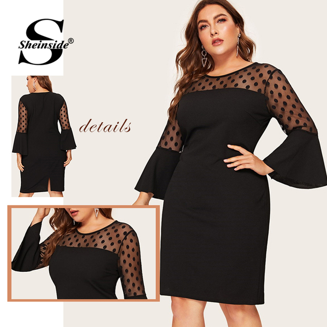 Sheinside Plus Size Elegant Polka Dot Mesh Patchwork Dress Women 2019 Spring Hem Slit Pencil Dresses Ladies Bell Sleeve Dress 5