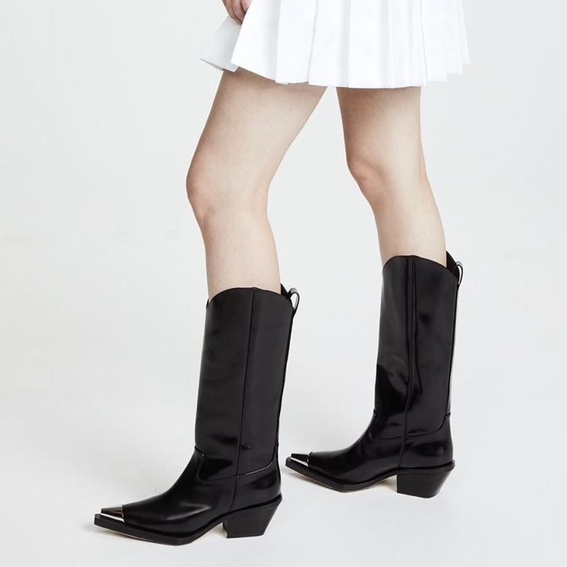 Blanc Design Cuir Vankaring À De Hautes Hiver Femmes La Marque Pour Black Dames Plateforme Talons Hauts Classique Chaussures En Noir white Bottes Automne Zqq8w