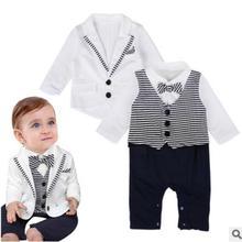 Международная торговля, новая детская одежда, европейский и американский джентльмен, галстук-бабочка, в полоску, с длинными рукавами, сиамский плащ+ пальто
