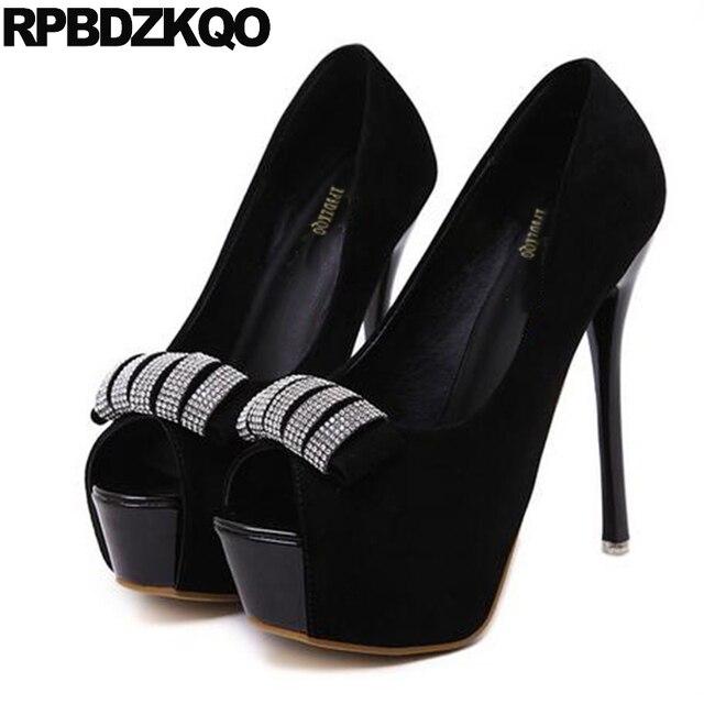 e79c1ea72b6b Suede Fish Mouth Platform Women Peep Toe Scarpin Summer Ultra Black Super  High Heels Extreme Size 4 34 Shoes Rhinestone 12cm 5