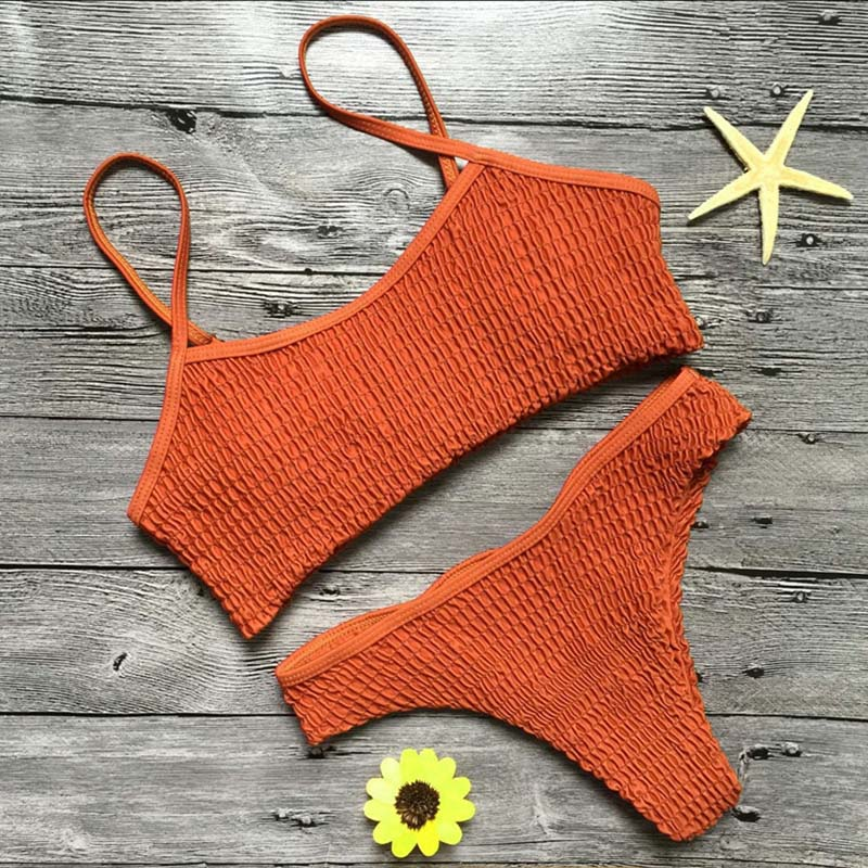 Sexy Green Bandeau Swimwear Women Triangle Bikini Halter Bandage Thong Bikinis Bathing Suit Beach Suit with Pad Set SCL064 5