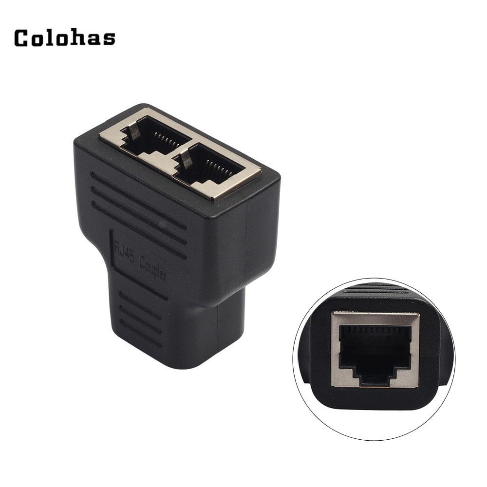 Colohas Black RJ45 Coupler Network Splitter Adapter Converter One To Dual Female Ports LAN Ethernet Socket