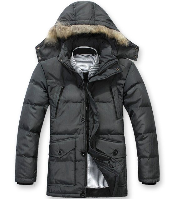 2012 Free Shipping , Fur Collar Men's winter overcoat, Outwear, Winter jacket, 3 colors, L-XXXL, Big Size wholesale