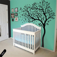 Large Tree flying Birds Wall Sticker DIY Kids Nursery Bedroom Wall Decoration Tree Decal Custom Color Mural Left Right