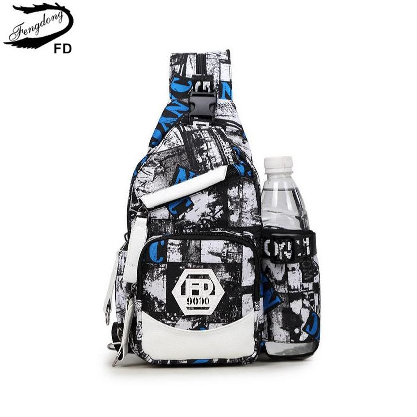 FengDong anti theft men small chest bag male water bottle bag boy crossbody one shoulder bags for travel bagpack women daypack