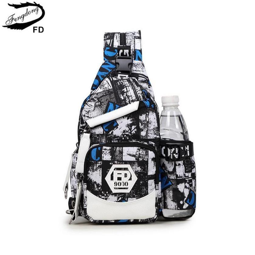 FengDong anti lopás férfiak kis mellkas táska férfi víz palack táska fiú crossbody egy válltáska utazási bagpack nők daypack