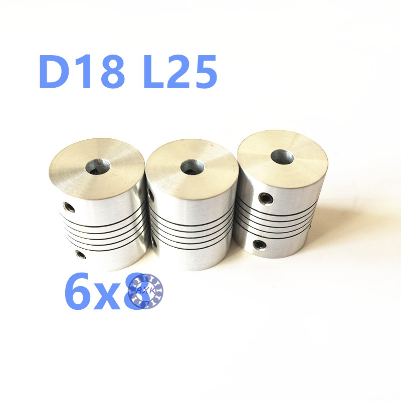 3pcs 6mm x 8mm CNC motor flexible coupling shaft hole 6mm to 8mm stepper motor shaft coupling D18 L25 6x8mm new flexible aluminum alloys double diaphragm coupling for servo and stepper motor couplings d 44 l 50 d1 and d2 are 8 to 20 mm