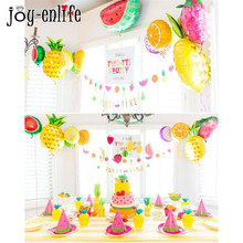 JOY-ENLIFE Hawaii tropu pludmale Flamingo tēma Vasaras ballītes apdare Baloni Straws Cake Topper Baby Shower Party Supplies