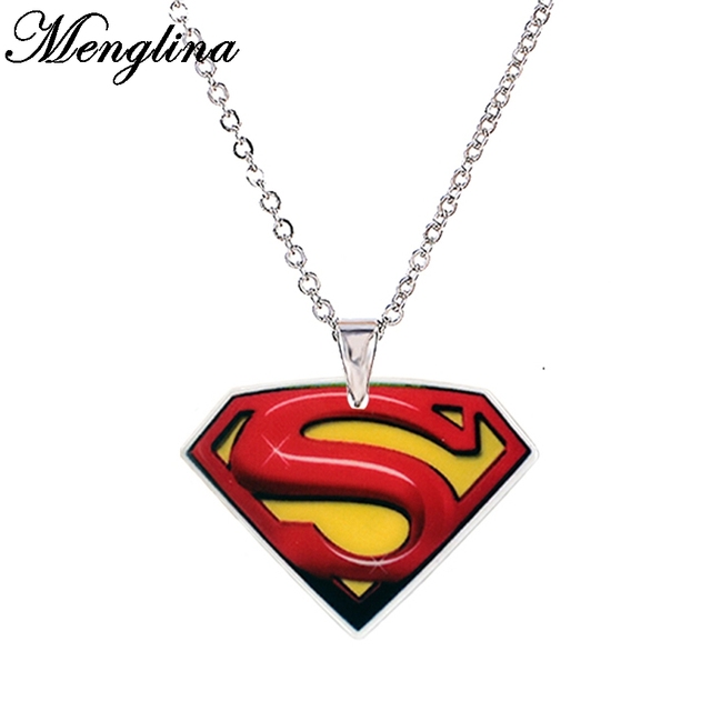 Cartoon hero superman print acrylic pendant necklace for girls cartoon hero superman print acrylic pendant necklace for girls silver color chain flatback resin childrens necklaces mozeypictures Image collections