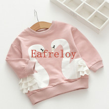 Girls Cotton Swan Printing Girls T-Shirt Autumn Baby Girls Full T-Shirt Cute Cartoon Bird Lace Shirts Children Clothing Blouse