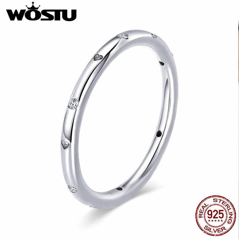 WOSTU кольца из чистого 925 пробы серебра с капельками в форме сердца для женщин, фирменное обручальное кольцо, ювелирное изделие, подарок для влюбленных, CQR374