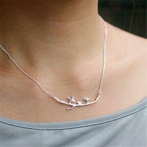Image 4 - Lotus Spaß Echt 925 Sterling Silber Handgemachte Designer Edlen Schmuck Nette Vogel auf Zweige Halskette mit Anhänger für Frauen Collier