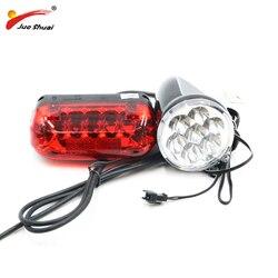 36V LED przednia głowica i tylne światło do roweru elektrycznego jasna lampa tylna łączy się z główny kabel i kontroler roweru e