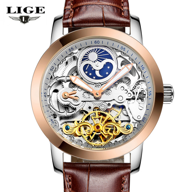 LIGE Casual Mens Moon Phase Hollow Dial Mechanical Watches Leather Automatic Watch Men Sport Waterproof Wristwatch new for hp pavillion 587244 001 cpu cooling fan with heatsink cooler 587244 001 free shipping