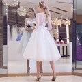 Vestido De Noiva Long Sleeve O-Neck A-LIne Knee-Length Short Wedding Dress Lace Appliques Bow Princess Bridal Dress Formal Party
