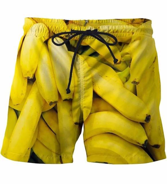 Summer Men Beach Shorts bananas yellow 3D Print  3