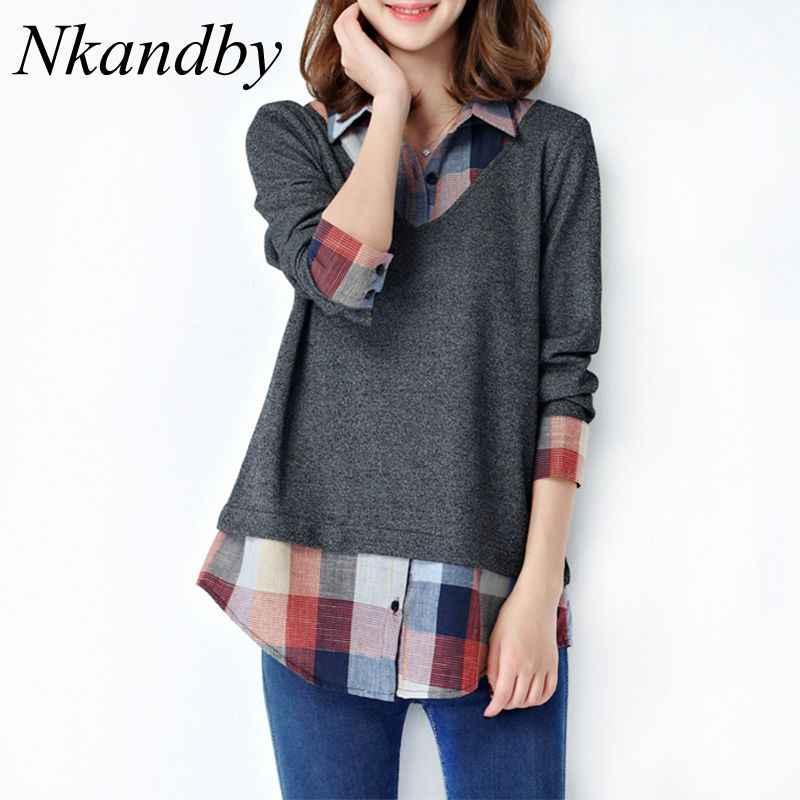 Nkandby 5XL 4XL プラスサイズの女性のトップスやブラウス 2019 ファッション襟長袖チェック柄パッチワーク女性シャツ