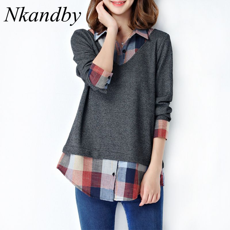 Nkandby 5XL 4XL Plus Size Ladies Tops and Blouses 2019 Fashion Loose Turn Down Collar Long Sleeve Plaid Patchwork Women Shirts-in Blouses & Shirts from Women's Clothing on AliExpress - 11.11_Double 11_Singles' Day 1