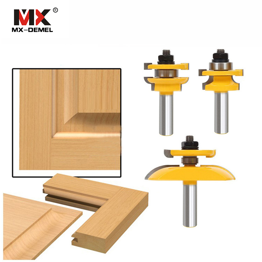 3Pcs 1/2'' Shank Rail & Stile Ogee Blade Cutter Panel Cabinet Router Bits Set Milling cutter Power Tools Door knife Wood Cutter 3pcs 1 4 wood milling cutter round rail and stile router bits set cove raised panel tools endmill