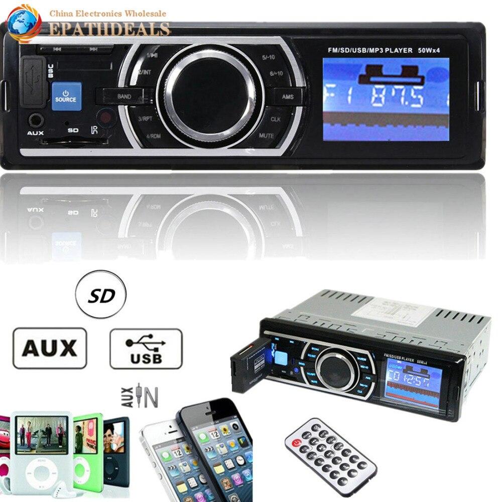 imágenes para 25 W x $ number CANALES de Entrada Auxiliar de Audio Estéreo En El Tablero de Radio Auto Del Coche Receptor con SD/USB/MMC/AUX/FM MP3 Player + Remote Control