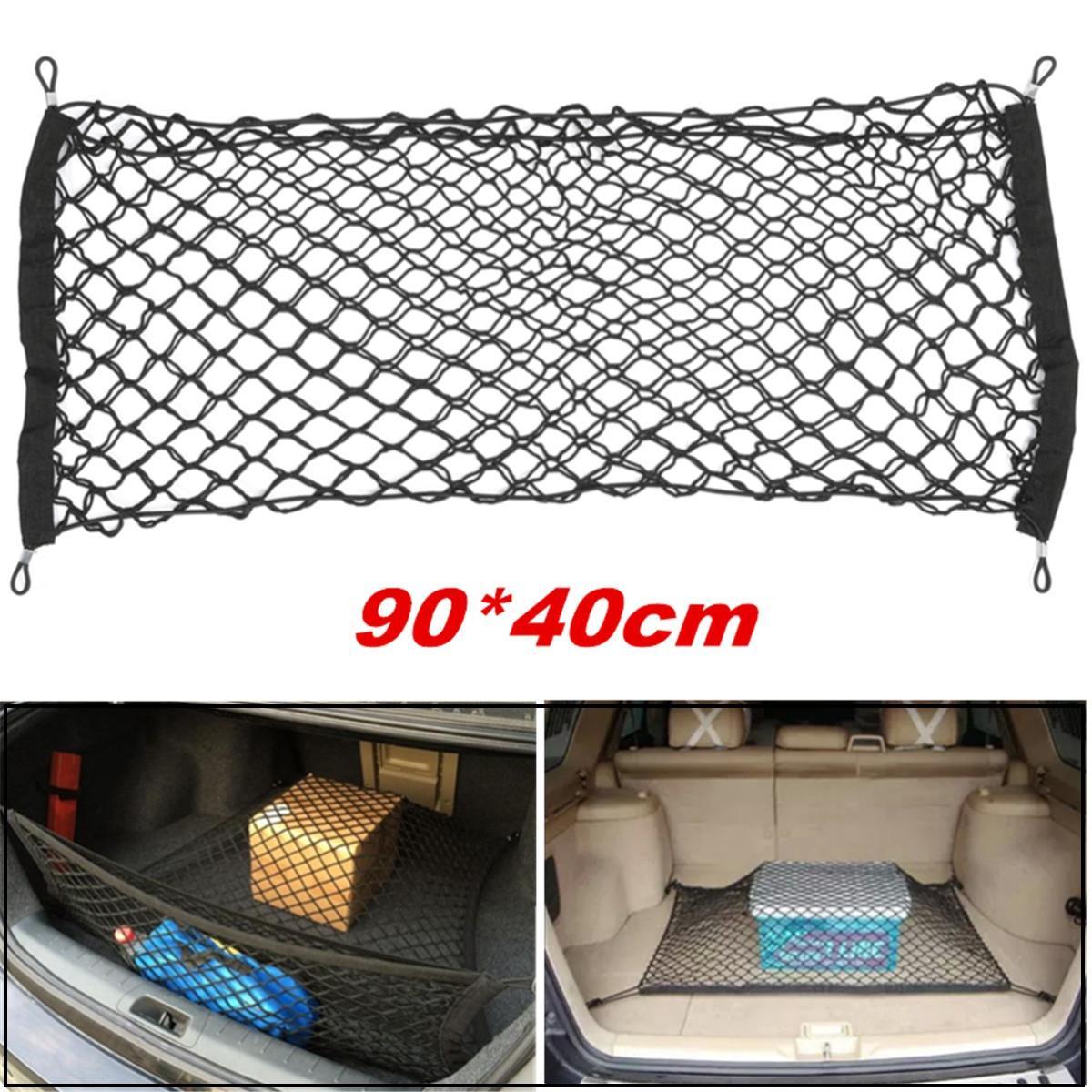 trunk car rear cargo organizer storage elastic carrier mesh net nylon 90x40cm car interior. Black Bedroom Furniture Sets. Home Design Ideas