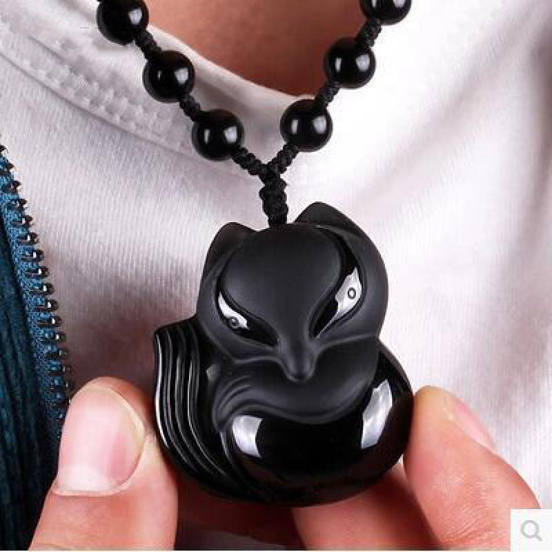 Black Obsidian Fox Necklace