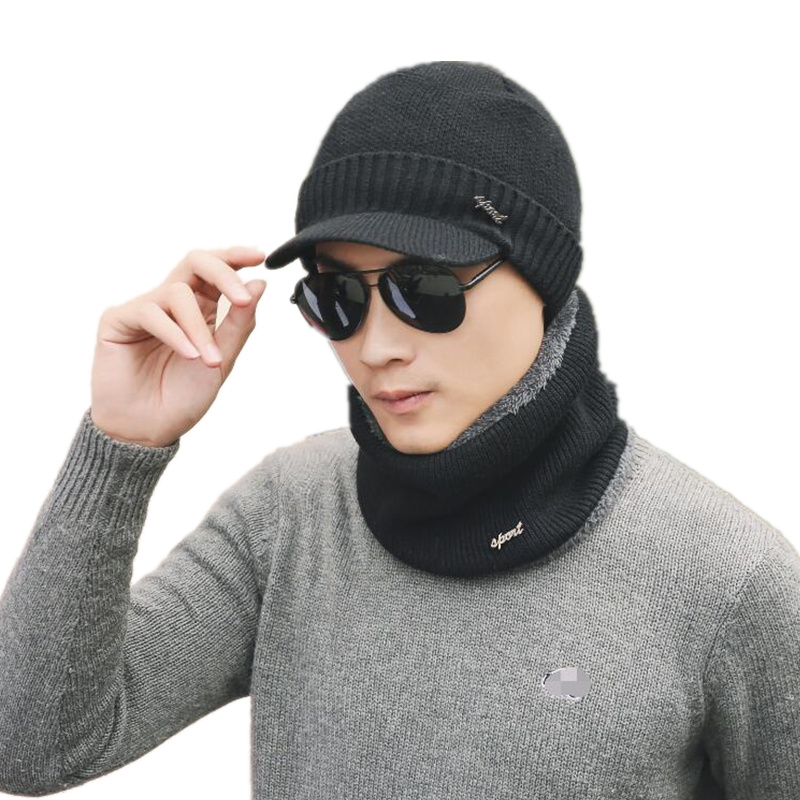 2017 Brand   Beanies   Knit Men'S Winter Caps   Skullies     Beanies   Bonnet Knitted Ring Scarf & Hat For Man Women   Beanie   Wool Knitted Hat