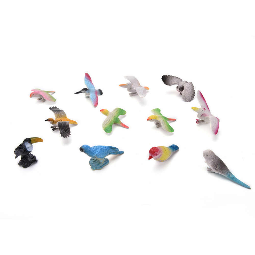 12 Uds desarrollo de niños de juguete de diferentes tipos de pájaros de juguete conjunto de pájaros de plástico juguetes de juego de pájaros modelo de acción y figuras mejor regalo