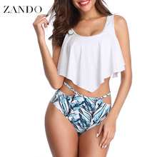 Zando 2019 Two Pieces Swimwear Tankini Women  Sexy Backless Halter Floral Printed Swimming Suit For Mid Waist Biquinis