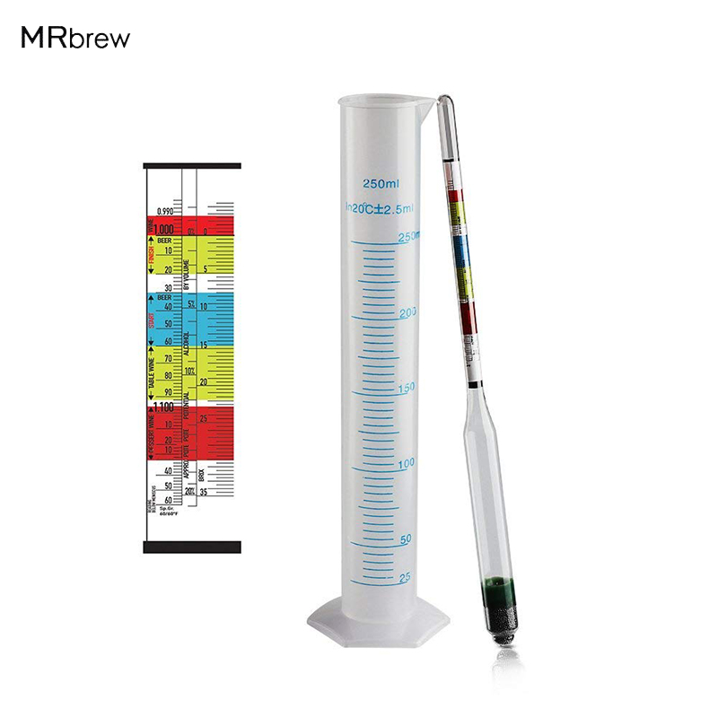 Triple Scale Hydrometer & 250ml Plastic Measuring Cylinder For Wine, Beer, Mead And Kombucha Gravity ABV Tester Homebrewing Tool
