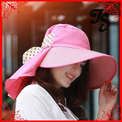 Envío gratis de ala ancha del sombrero del sol para verano playa mujeres sombrero con bowknot de colores bowtie del sol del verano