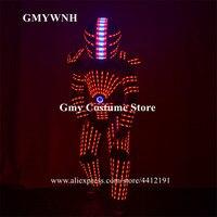 P25 вечерние Танцы костюм робота из светодиодов RGB яркая Броня наряды disco носит шоу на сцене световой одеть платье для дискотеки шлем выполнят