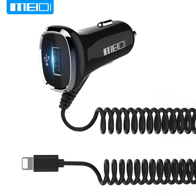 Meidi Универсальный USB Автомобильное Зарядное устройство 2.4A Быстрая зарядка 2 в 1 автомобиль Зарядное устройство с кабелем Длина 1 м для Samsung …