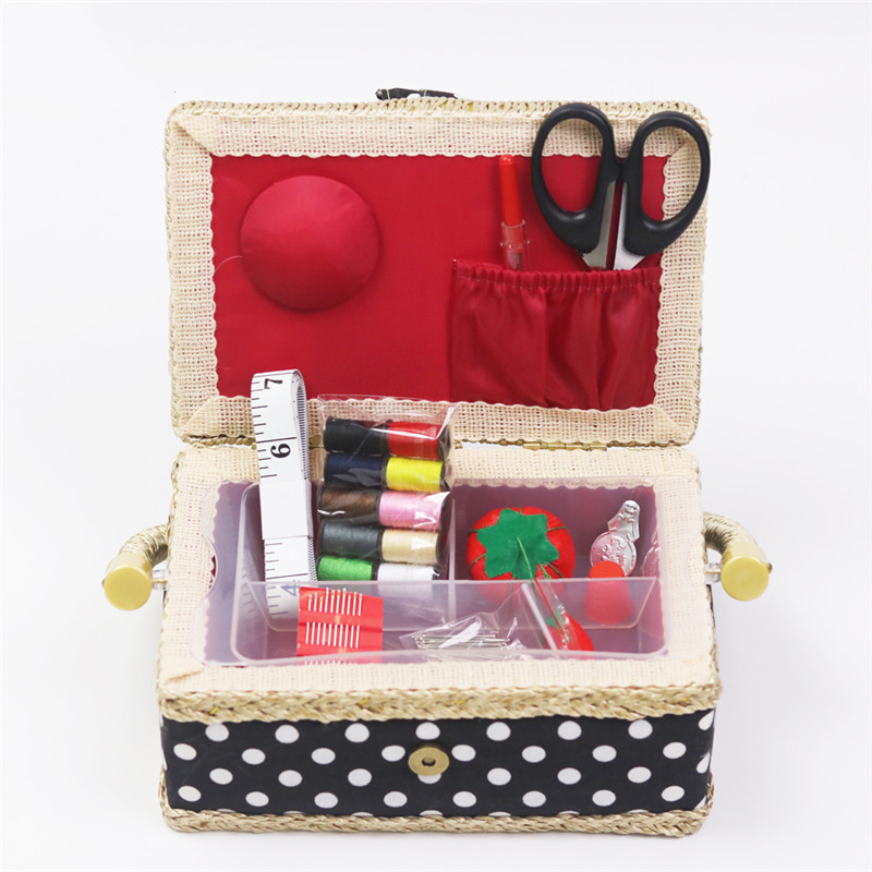 Handmade Cotton Fabric Storage Sewing Basket Sewing Thread Scissors Tools Accessory Craft Tools Storage Box For Women Wife Gift  (8)