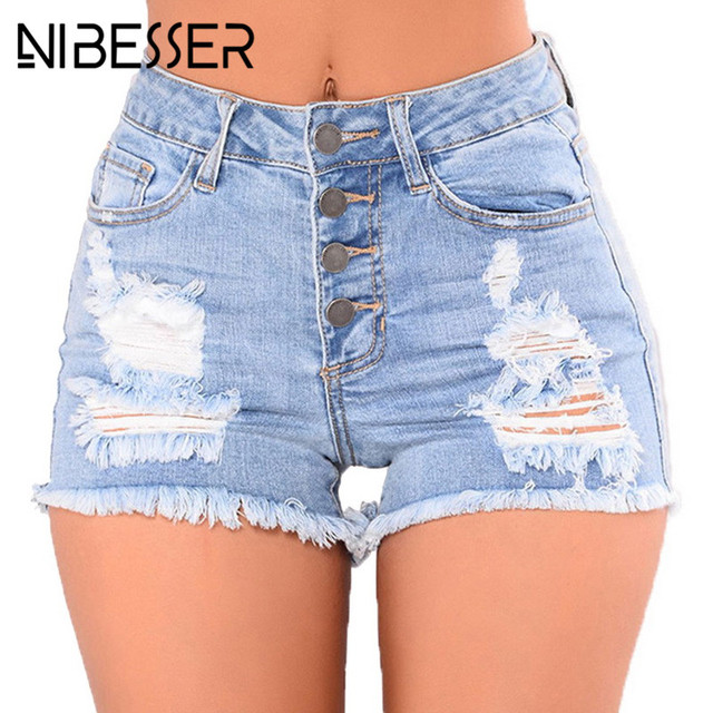 NIBESSER Short Jeans Fashion High Waist Casual Denim Shorts Women 2018 Hole Ripped Summer Tassel Streetwear Femme Sexy Shorts
