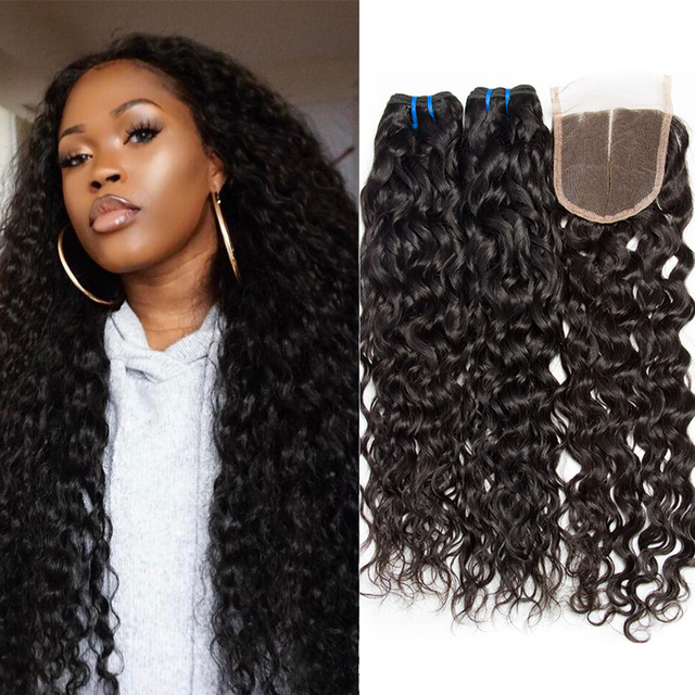 Malaysian Virgin Hair With Closure Wet And Wavy Human Weave Bundles Curly