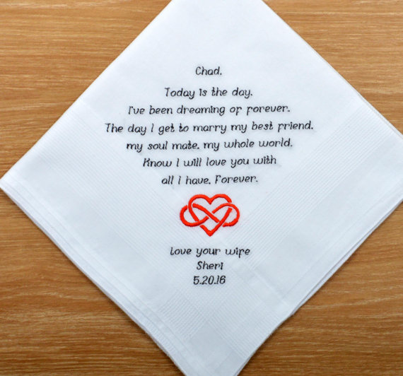 Present Gift favour man Personalised Groom Embroidered Handkerchief Wedding