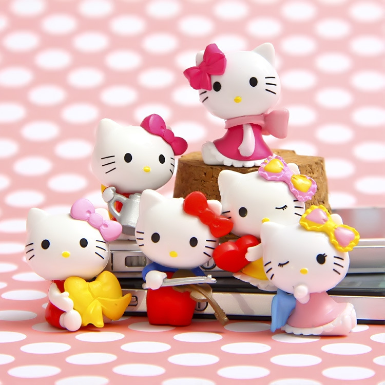6pcs/set Hello Kitty Action Figure Cartoon Toys girls set Anime hello kitty cute Christmas party supply for Children Kid Figures 6pcs set disney trolls dolls action figures toys popular anime cartoon the good luck trolls dolls pvc toys for children gift
