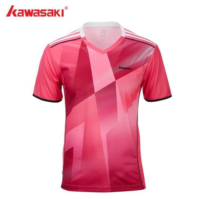 dfdf223a8613 Kawasaki Sportswear Badminton Sports Shirt For Men V-Neck Breathable Sweat  Shorts 100% Polyester T-shirts ST-T1008