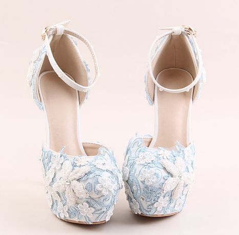 ФОТО 14cm super high sky blue lace platforms wedding shoes  woman lace flowers pearls round toe ladies party pumps buckle shoes TG817