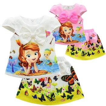 0c10d73a8 Mickey Mouse verano Cute princesa 2 piezas fija niños Hello Kitty juegos de  ropa de la camiseta + falda niños ropa niñas traje