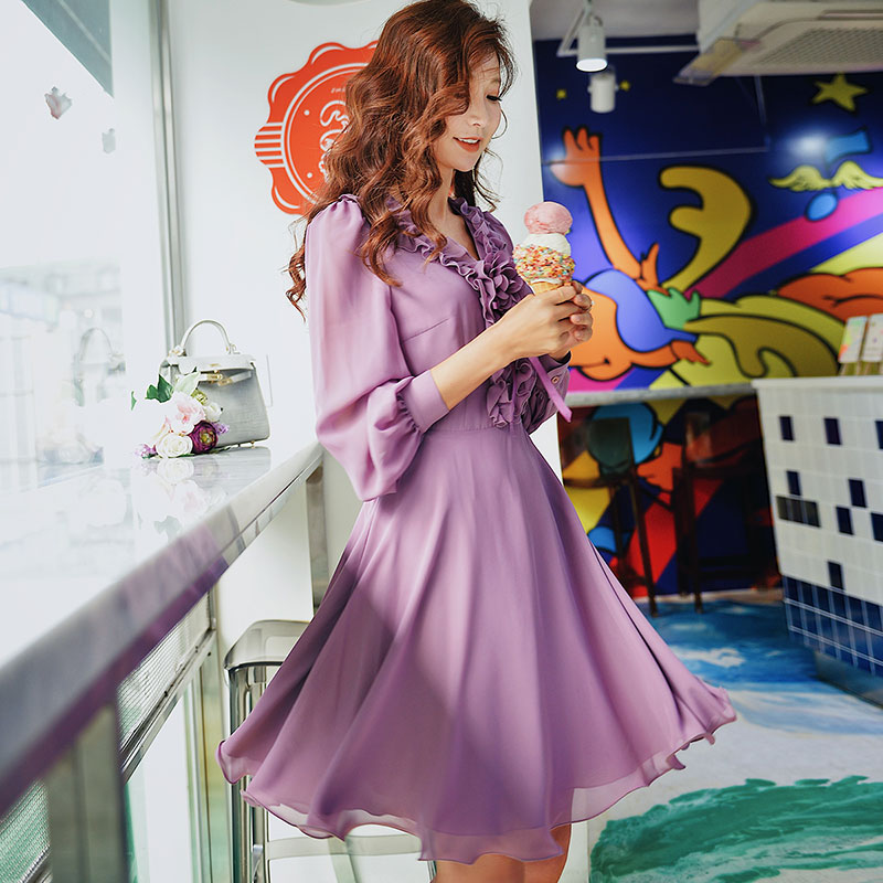 Dabuwawa Spring Purple Ruffles V Neck Sweet Midi Dress for Girls Woman Lady Long Puff Sleeve