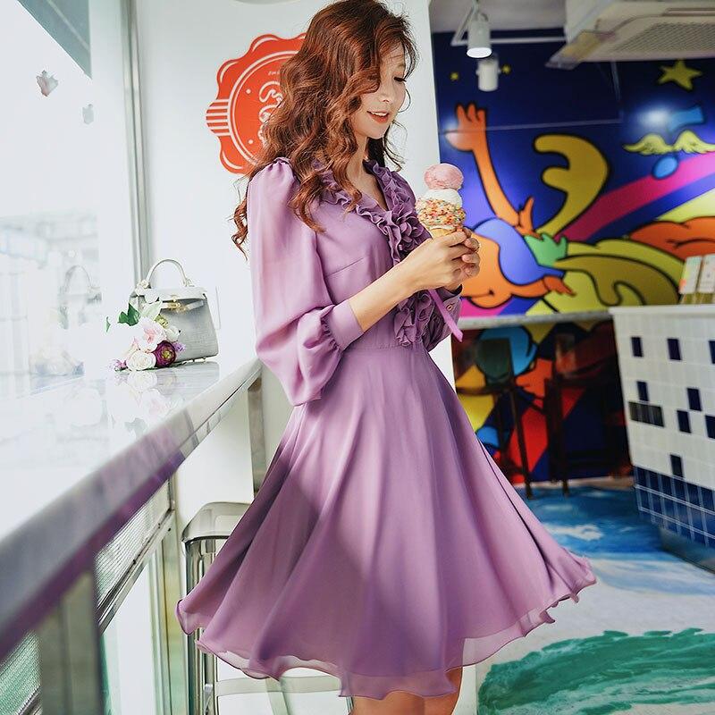 Dabuwawa Spring Purple Ruffles V-Neck Sweet Midi Dress for Girls Woman Lady  Long Puff Sleeve Romantic Party DN1ADR020