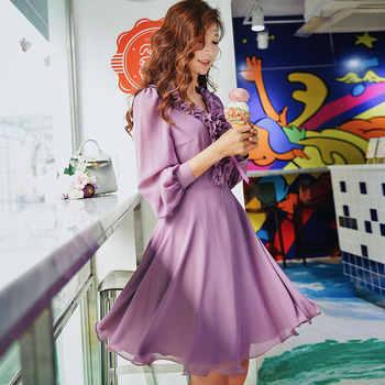 Dabuwawa Autumn Purple Ruffles V-Neck Sweet Midi Dress for Girls Woman Lady Long Puff Sleeve Romantic Party Dress DN1ADR020 - DISCOUNT ITEM  31% OFF Women\'s Clothing
