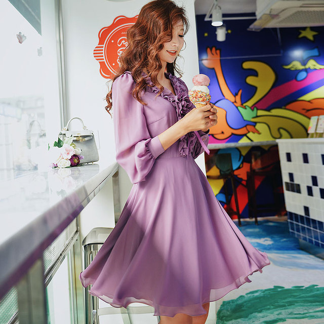 Dabuwawa Spring Purple Ruffles V-Neck Sweet Midi Dress for Girls Woman Lady  Long Puff Sleeve Romantic Party Dress DN1ADR020