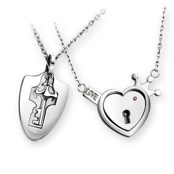 Европейская и американская мода ювелирные изделия ключ и сердце замок я люблю тебя Пара кулон ожерелье День Святого Валентина подарок на де...
