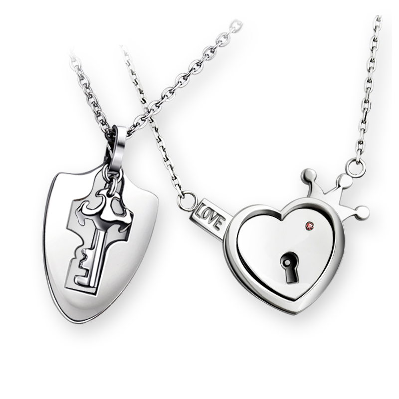 European and American fashion jewelry Key and Heart Lock I love you Couple Pendant Necklace Valentine's Bithday Day Gift цена