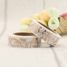 1PCS foil Lovely Cat washi tape DIY decoration scrapbooking planner masking tape adhesive tape kawaii stationery 1 5cm 7m cute socks washi tape diy decoration scrapbooking planner masking tape adhesive tape kawaii stationery